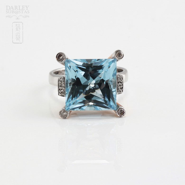 Bicolor ring in pink and white gold, topaz 9.55cts diamonds - 2
