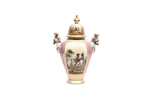 European pink vase with decorated posters