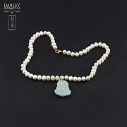 Choker pearl and jade Buddha - 2