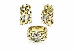Anillo y pendientes en oro amarillo de 18k con diamantes