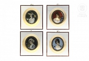 Lot of four miniatures with portraits of ladies, 19th c.