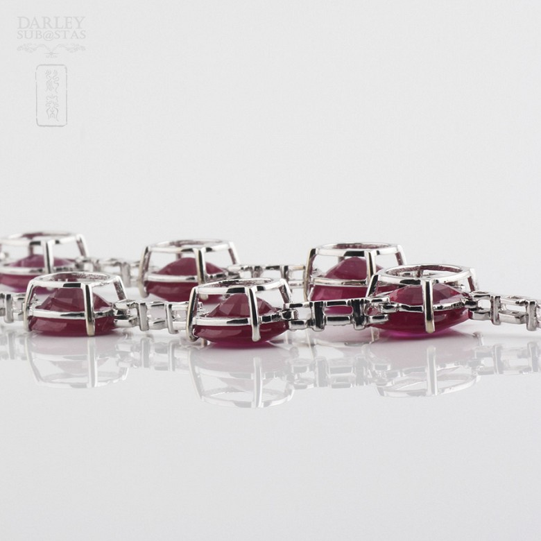 Necklace in 18k White Gold  38 cts of rubies and diamonds - 4