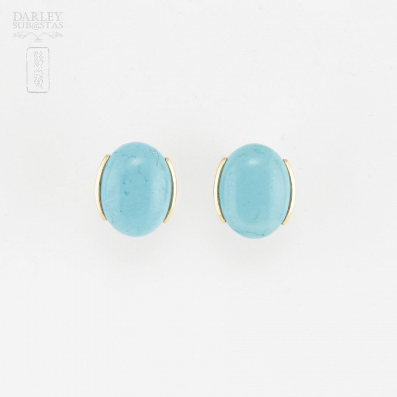 18k yellow gold and natural turquoise earrings