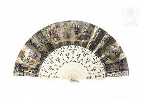 Fan with paper country, early 20th century