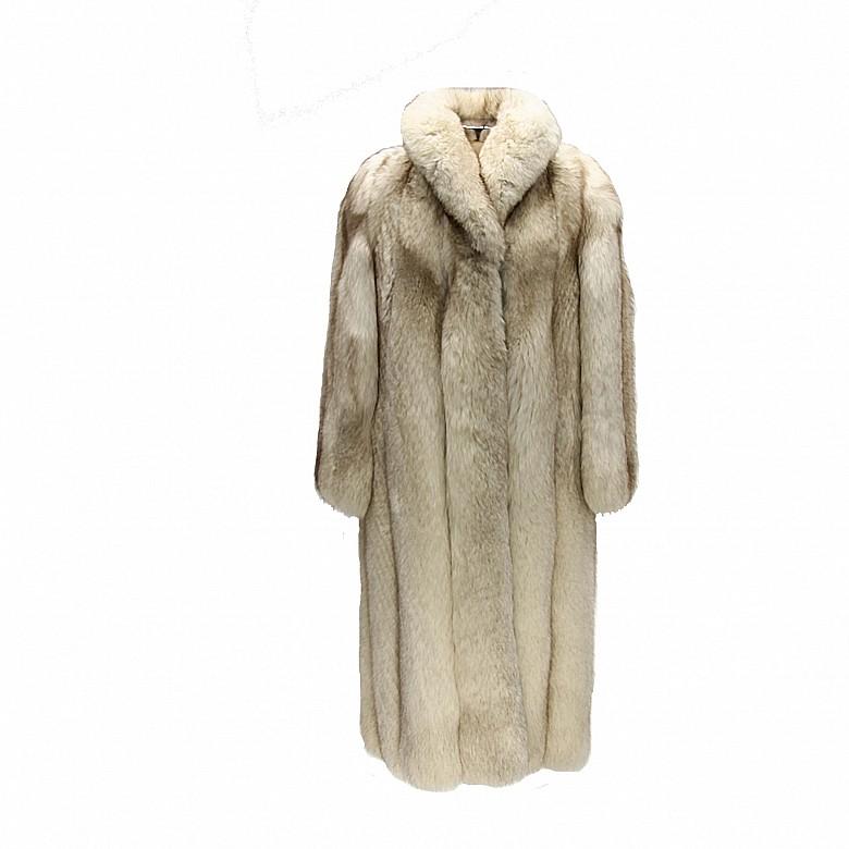 Long white fox fur coat.