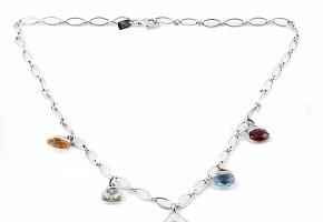 Collar gemas mixtas 15.15cts y diamantes en oro blanco 18k