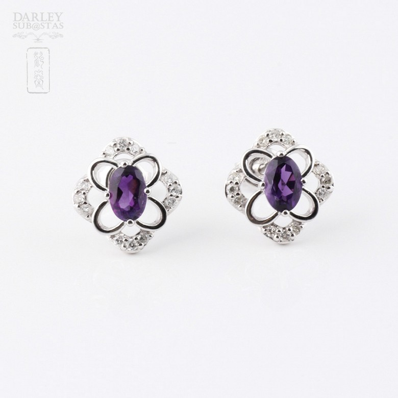 Earrings in 18k white gold with 0.98cts  amethyst and diamonds - 3