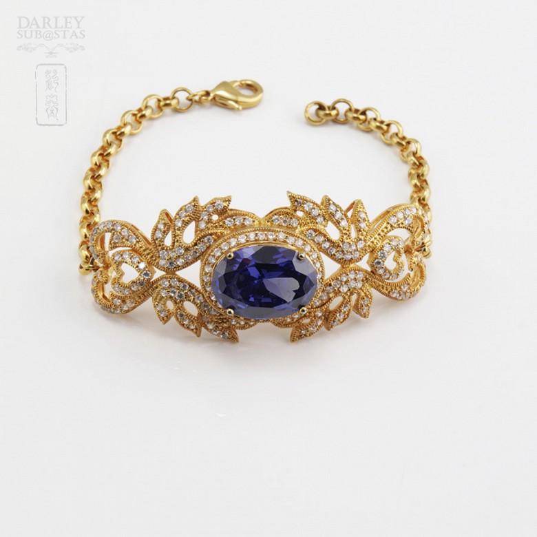 Aderezo de Fallera color azul Zafiro y dorado - 6