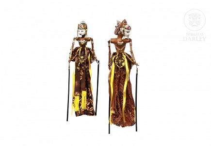 Pareja de marionetas indonesias, s.XX