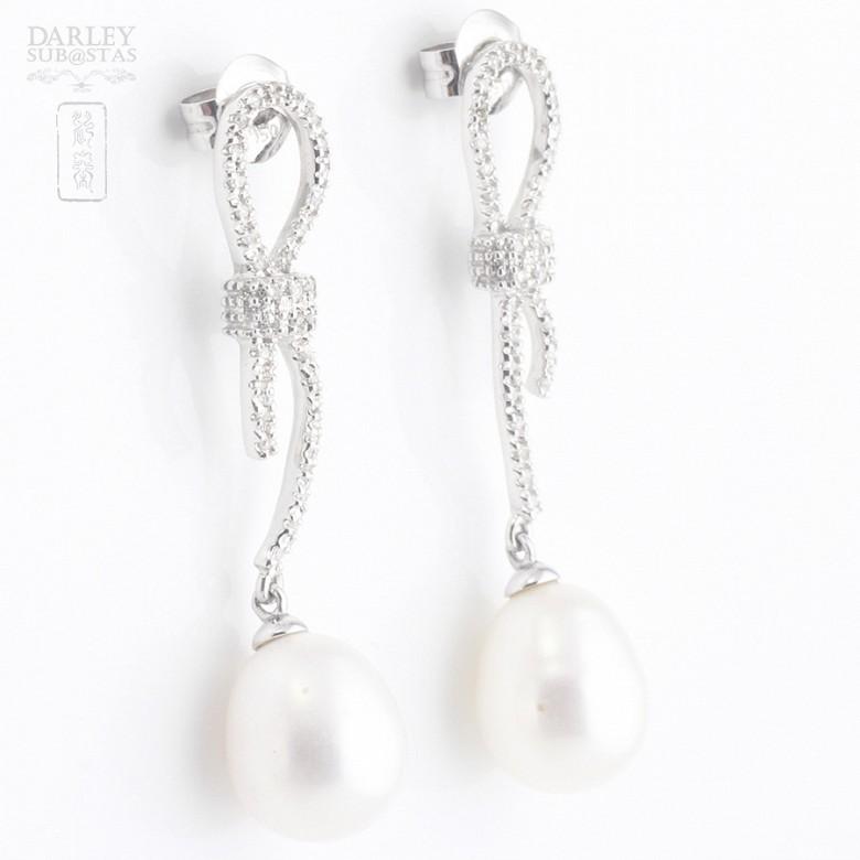 天然珍珠配钻石18k白金耳环 - 3