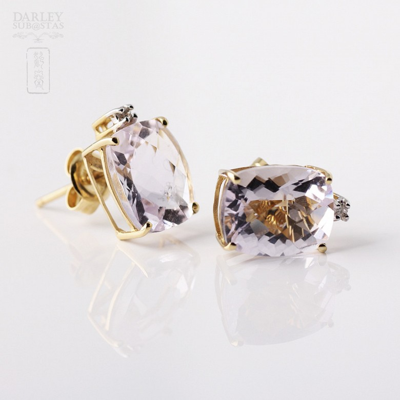 Pair of earrings in 18k yellow gold with amethyst and diamonds - 1