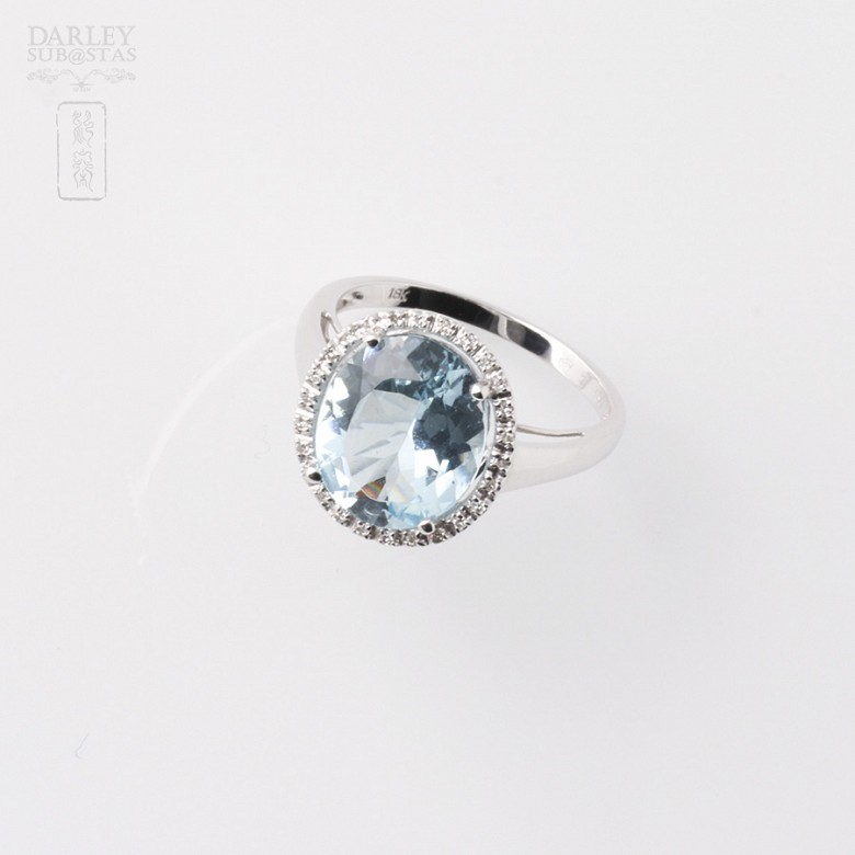 Ring Aquamarine 3.95cts and diamond in White Gold - 4
