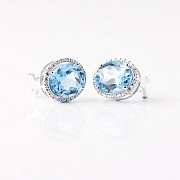 12,44 克拉天然蓝晶配钻石18k白金耳环 - 2