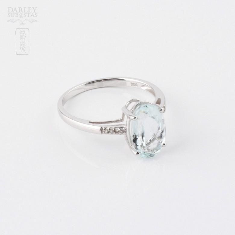 2.18克拉海蓝宝石配钻石18K白金戒指 - 1