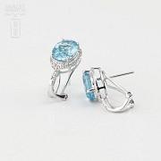 18K白金镶钻石配蓝晶耳环 - 4