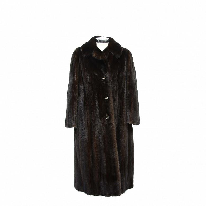 Nice mink fur coat dark brown color and long cut.