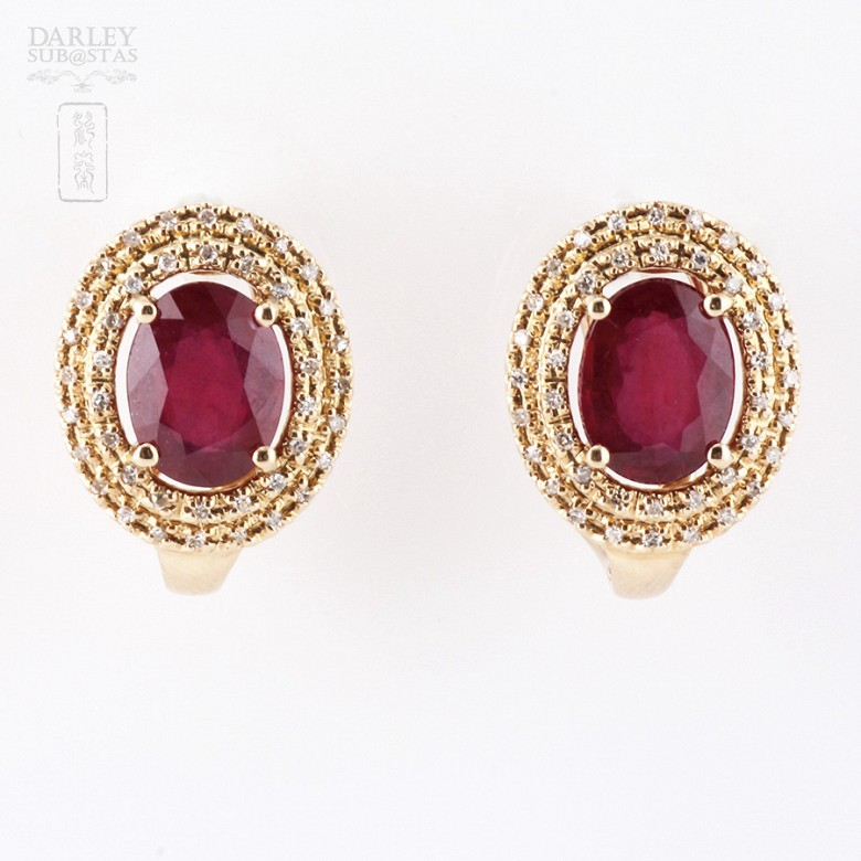 Earrings  5.11 cts ruby and diamond in 18k rose Gold