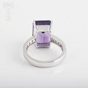 6.93克拉天然紫晶配钻石18K白金戒指 - 3