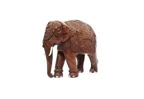 A carved wood elephant.