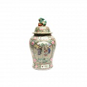 Chinese Tibor cantons 20th century, decorated floral motifs and central character medallion.