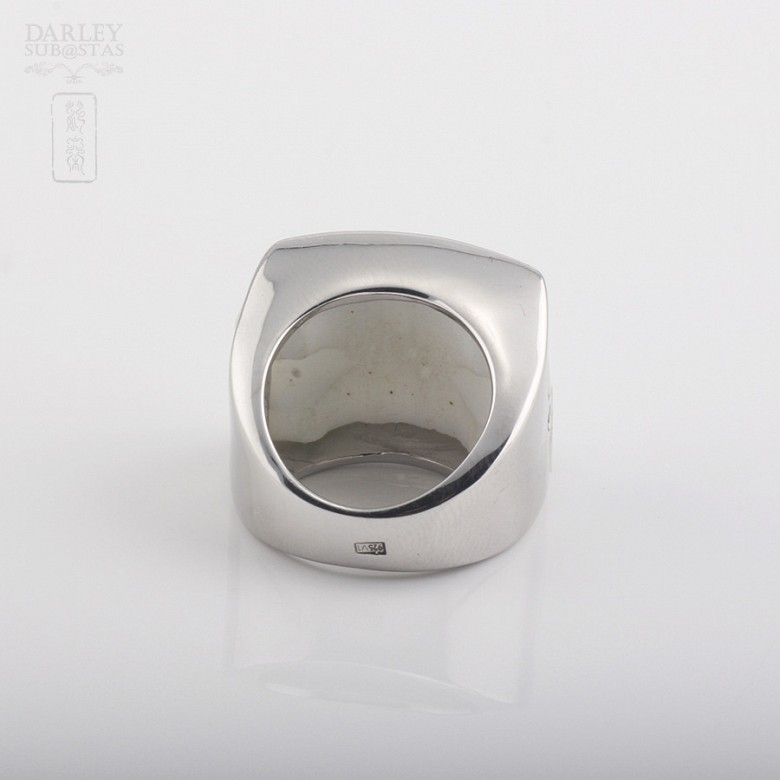 Anillo de porcelana en plata de ley 925m/m - 1