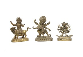 Grupo de escultura de bronce tibetano