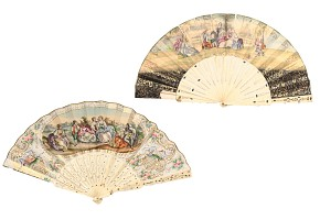 Two fans with carved bone linkage , painted paper.
