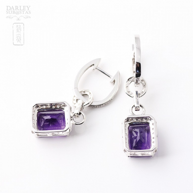 largosde 18k  with  amethyst 5.97 cts earrings and  diamonds - 1