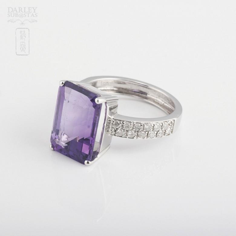 6.93克拉天然紫晶配钻石18K白金戒指 - 2