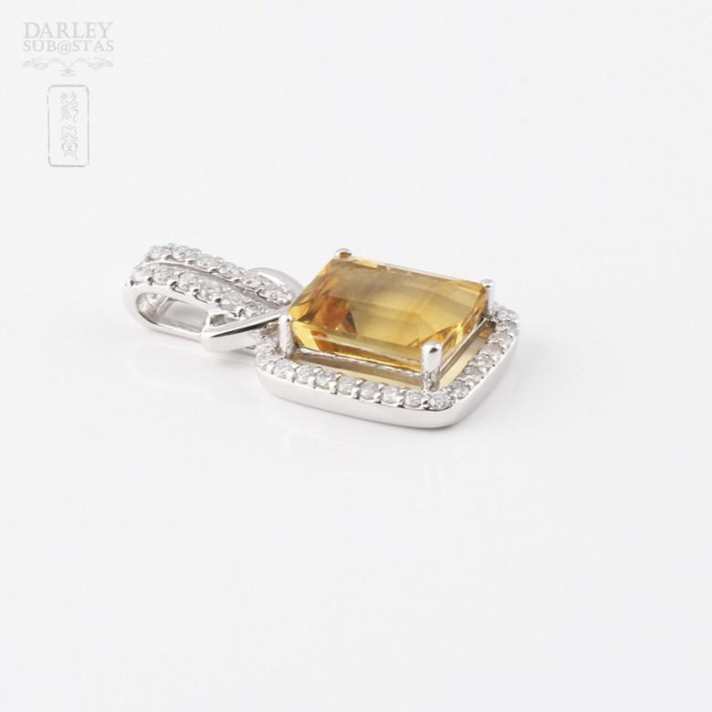 3.47克拉天然黄晶配钻石18K白金吊坠 - 3