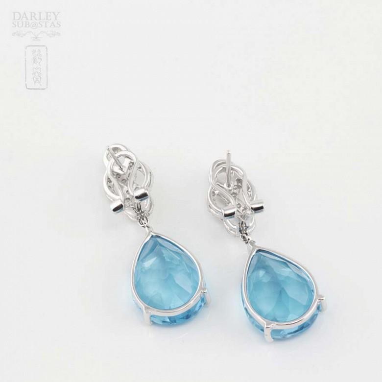 18k白金镶蓝晶配钻石耳环 - 3
