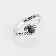 18K白金镶钻石配蓝包石戒指 - 2
