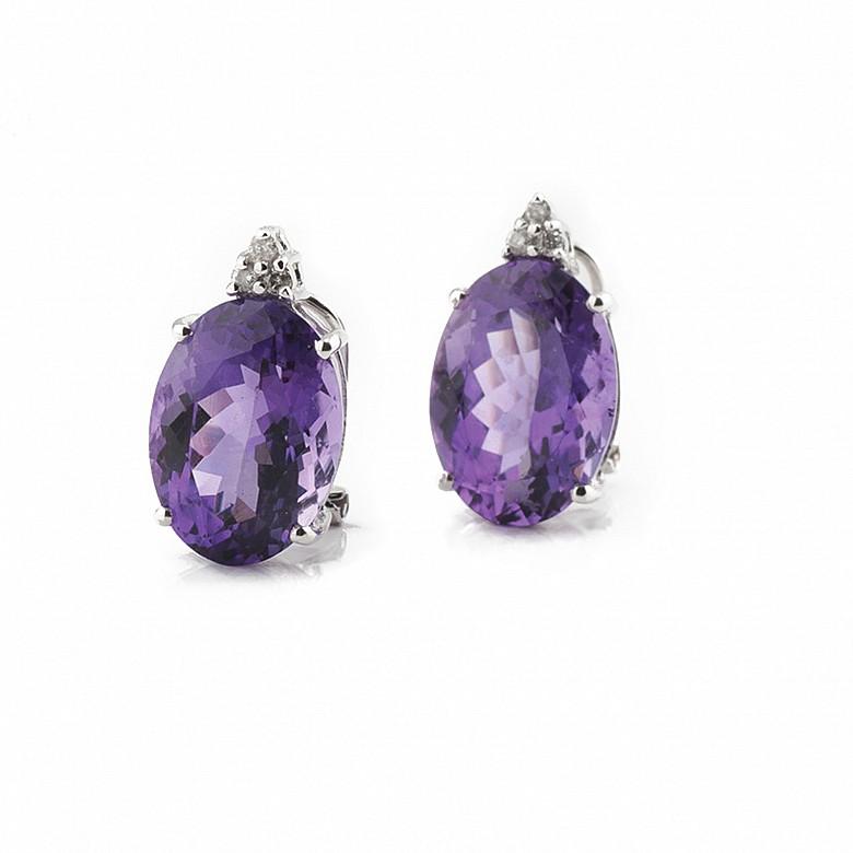18k白金镶钻石配10.98克拉紫水晶耳环