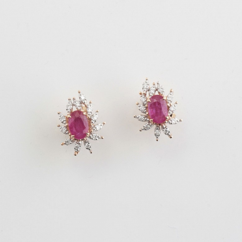 18k rose gold earrings, ruby and diamondss - 4