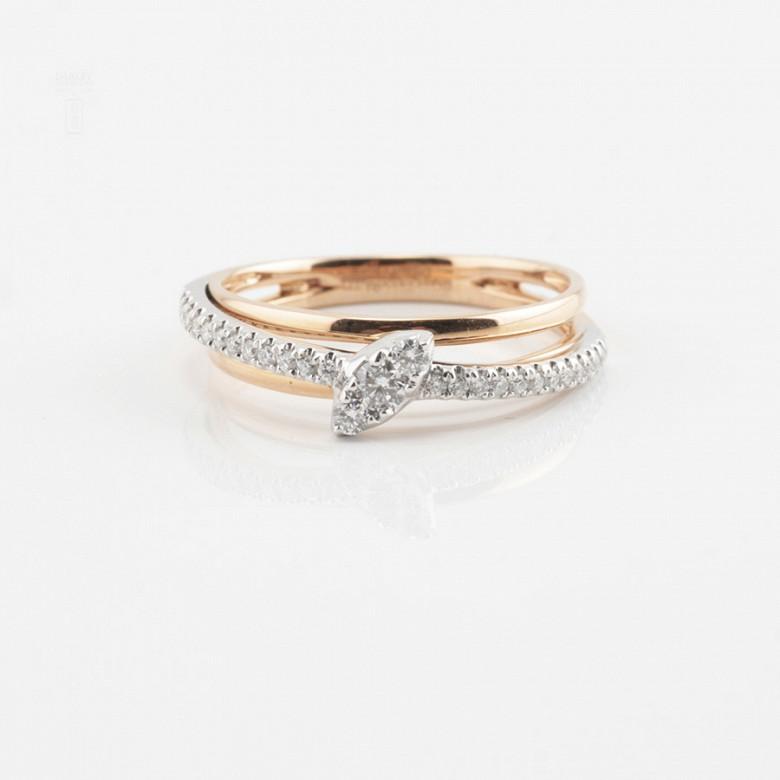 Beautiful 18k rose gold and diamond ring - 3