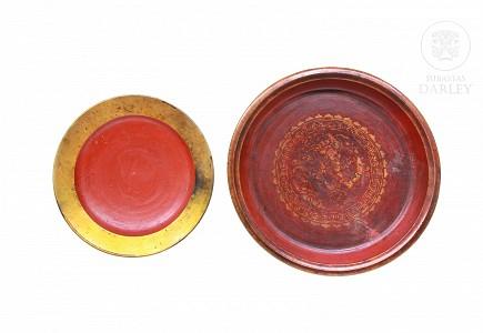 Pareja de platos decorativos, China, s.XX