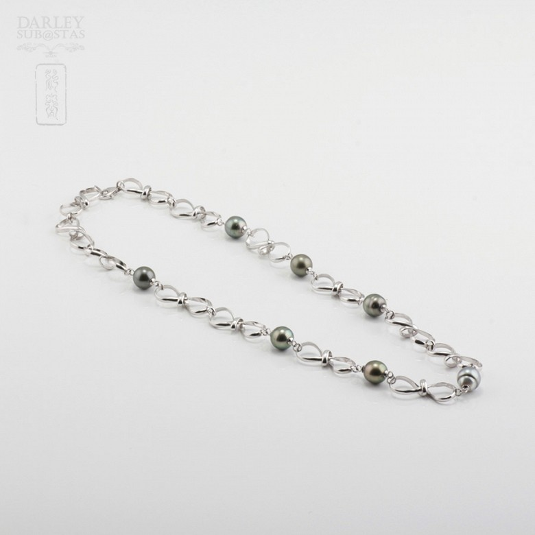 Natural Necklace Tahitian pearls in sterling silver, 925 - 2