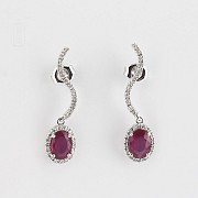earrings ruby 2.18 cts and diamond in white gold