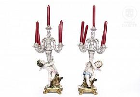 Pair of German porcelain candlesticks, 20th century
