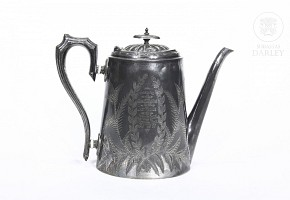 English silver plated metal teapot, ca 1897