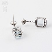 Earrings 4.55 cts Aquamarine and diamonds in 18k white gold - 1