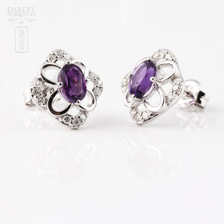 0.98克拉天然紫晶配钻石18K白金耳环