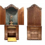 Mueble-capilla en madera de nogal, med.s.XX