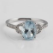 1.60克拉海蓝宝石配钻石18K白金戒指 - 4