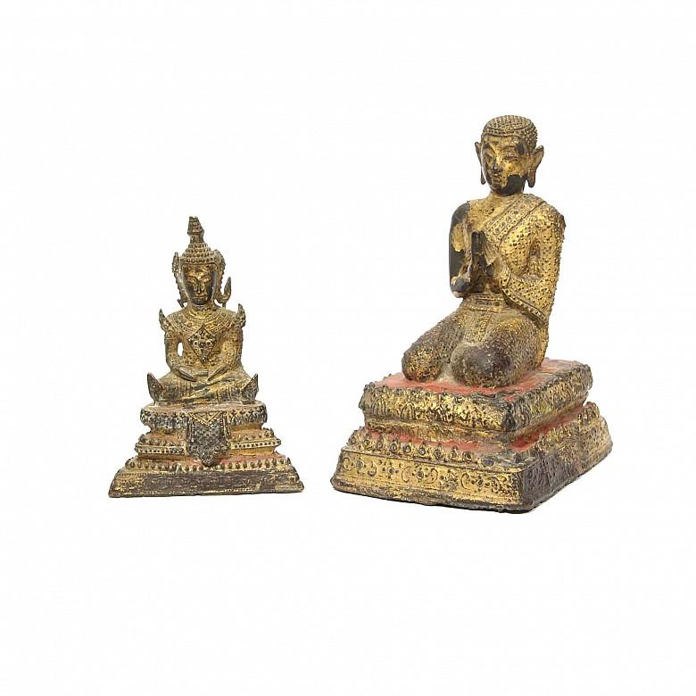 Lot of Thai figures of Buddha, 19th century.