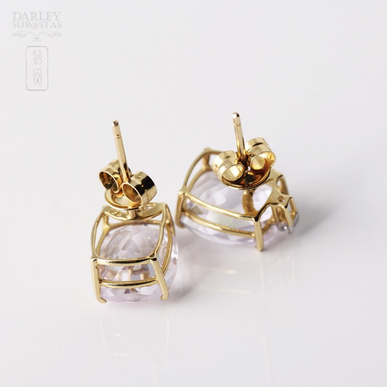 Pair of earrings in 18k yellow gold with amethyst and diamonds - 3