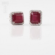 earrings with ruby 14.13cts and diamond 18k