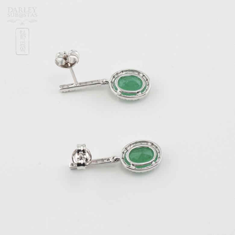 18k白金配祖母绿镶钻石耳环 - 3