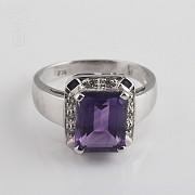 3.30克拉天然紫晶配钻石18K白金戒指 - 3