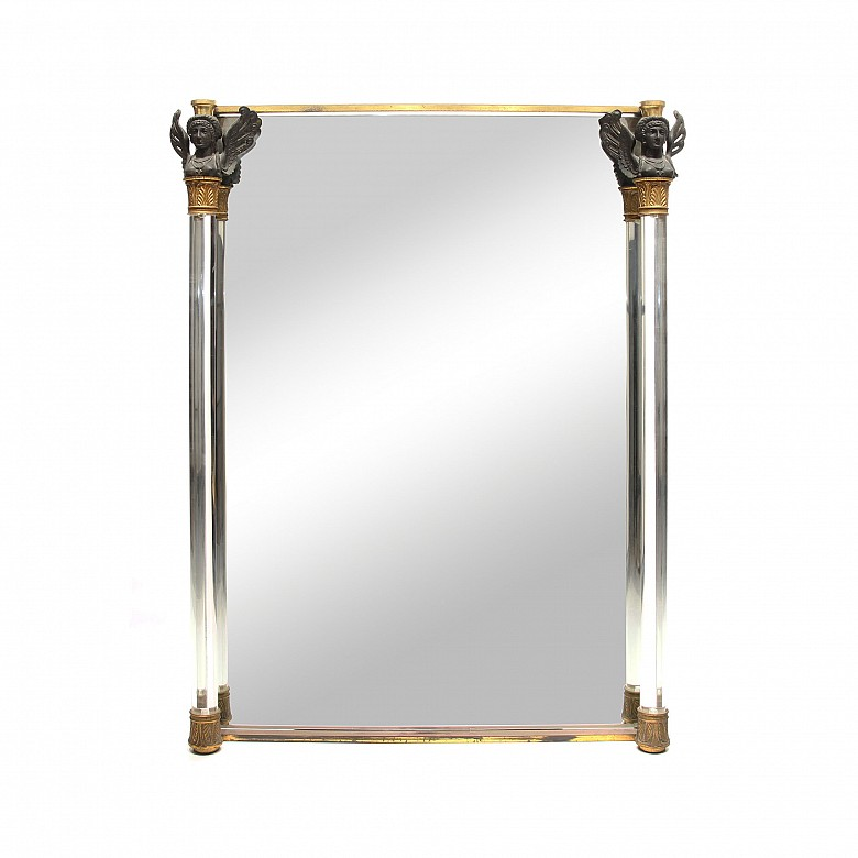Large mirror with rock crystal columns and capitals, Empire style